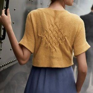 Anthro Moth Yellow Looking Back Cropped Cardigan